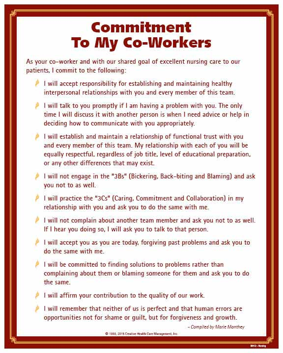 commitment to my co workers nursing poster m412