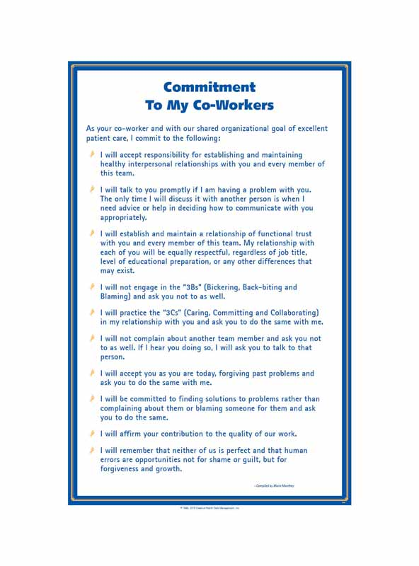 Commitment to My Co-Workers© Health Care Oversize Poster - 18.5 x 25 in.