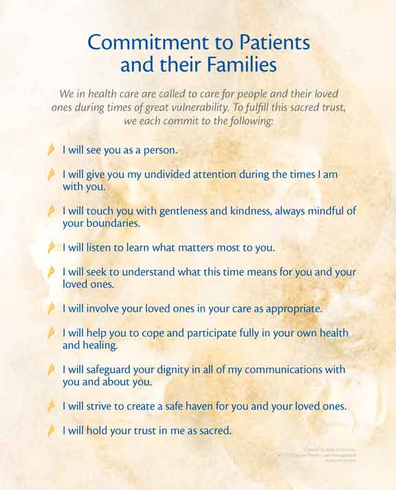 Commitment to Patients and Their Families Poster